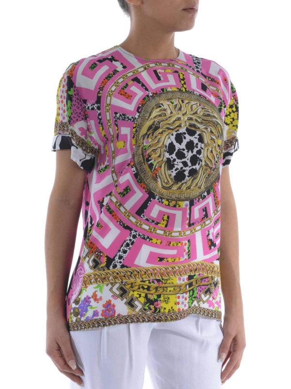 versace t shirt fur damen bunt t shirts a73648. Black Bedroom Furniture Sets. Home Design Ideas