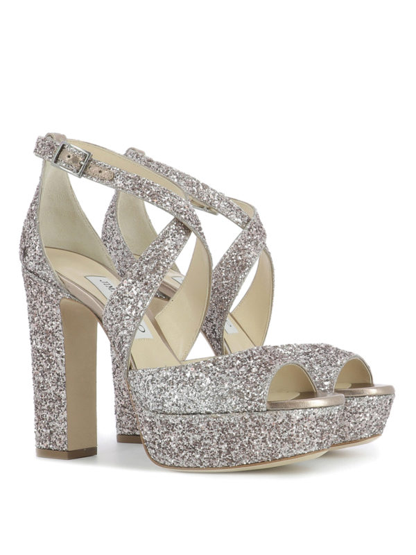 c5c1c968a1f0 Jimmy Choo - April 120 glitter sandals - sandals - APRIL120XLCTEAROSE