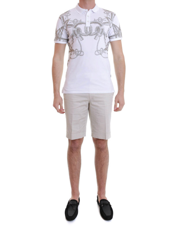 Just Cavalli: polo shirts online - Sea pattern printed polo