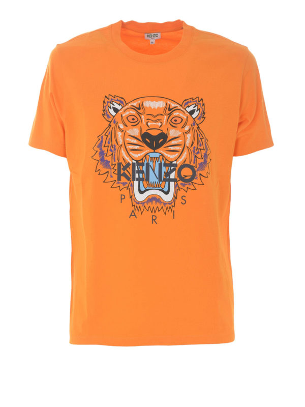 Kenzo - Orange cotton Tiger print T-shirt - t-shirts