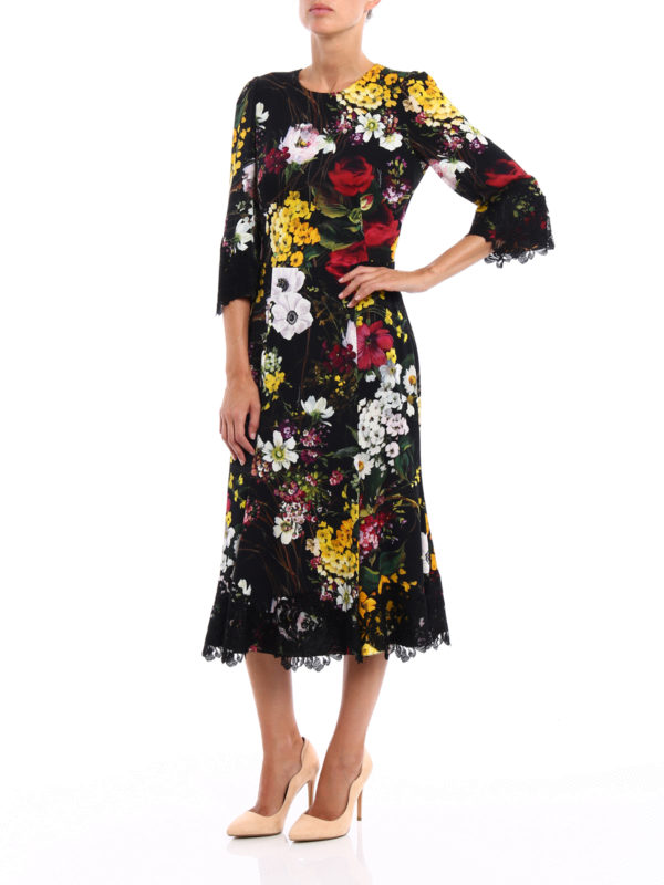 Lace detailed floral silk dress shop online: Dolce & Gabbana