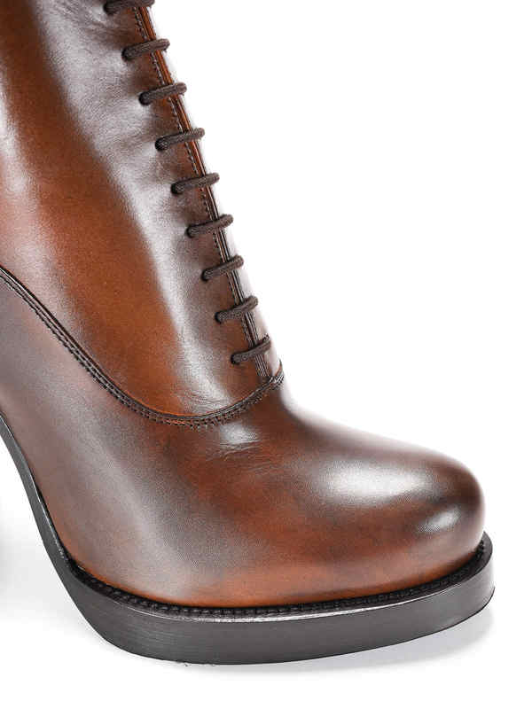 Lace-up leather ankle boots shop online: Prada