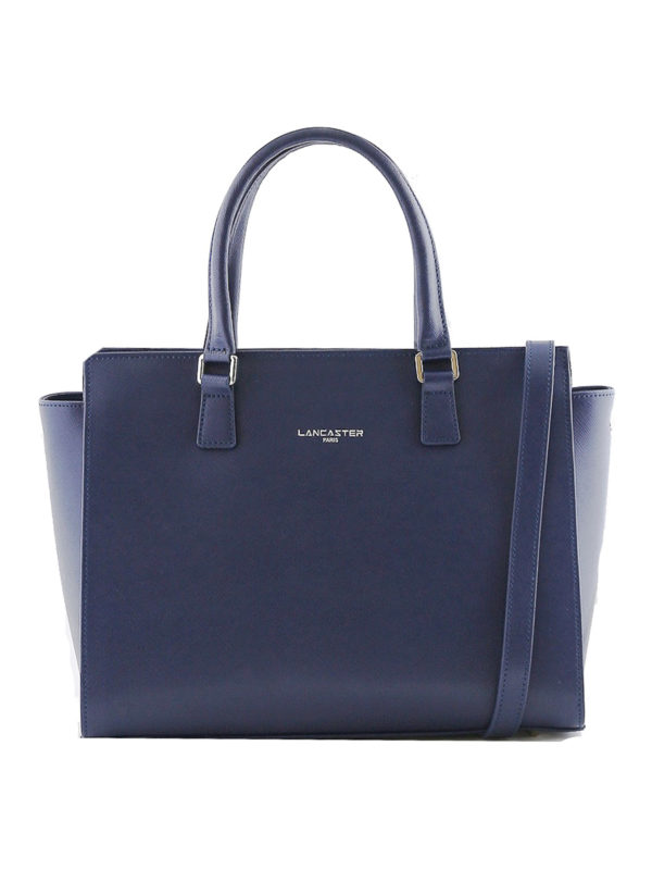 LANCASTER: totes bags - Blue Saffiano leather tote