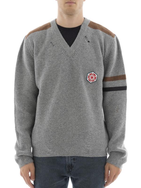 Lanvin: Strickpullover mit V-Ausschnitt online - V-Pullover - Grau