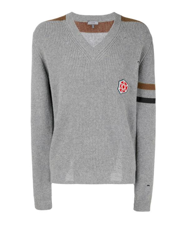 Lanvin: Strickpullover mit V-Ausschnitt - V-Pullover - Grau