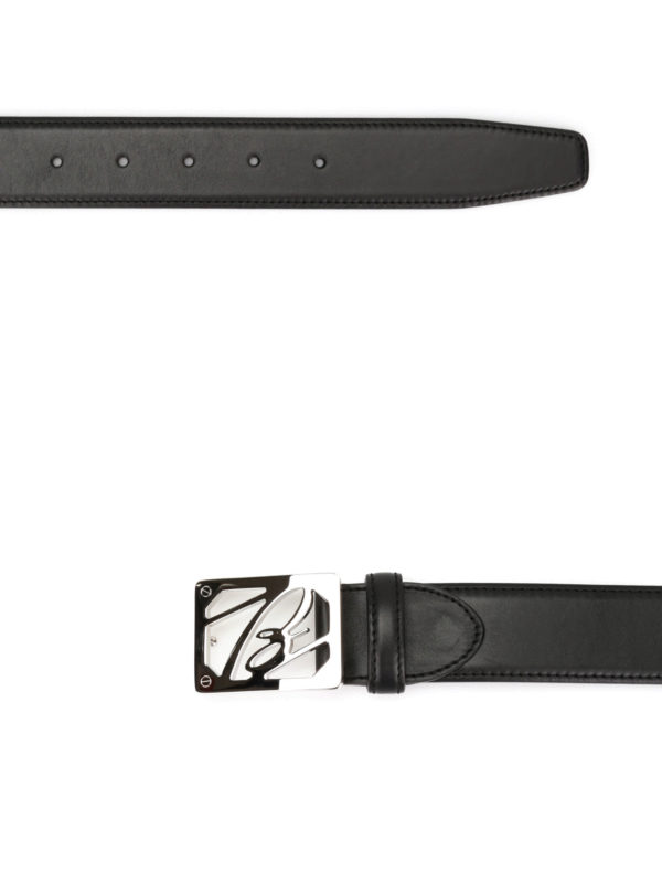 Leather belt with logo buckle shop online: Brioni