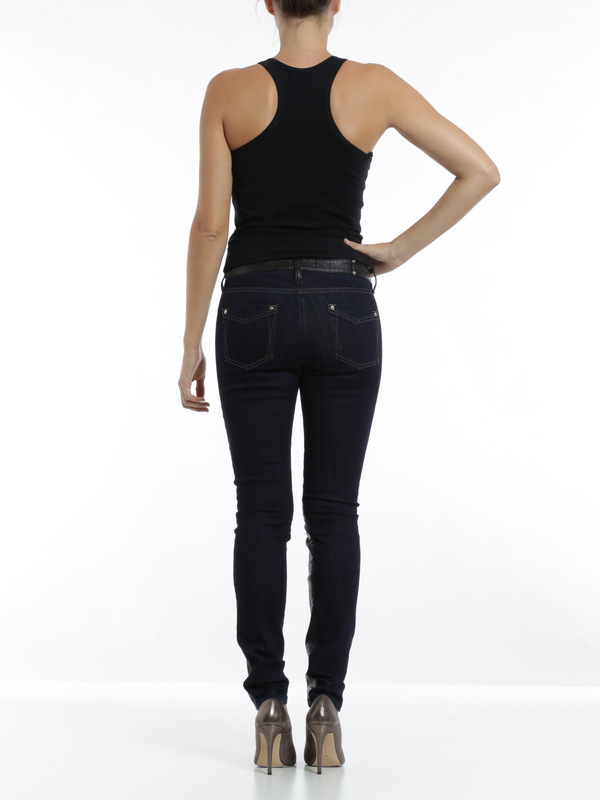 Leather front jeans shop online: Roberto Cavalli