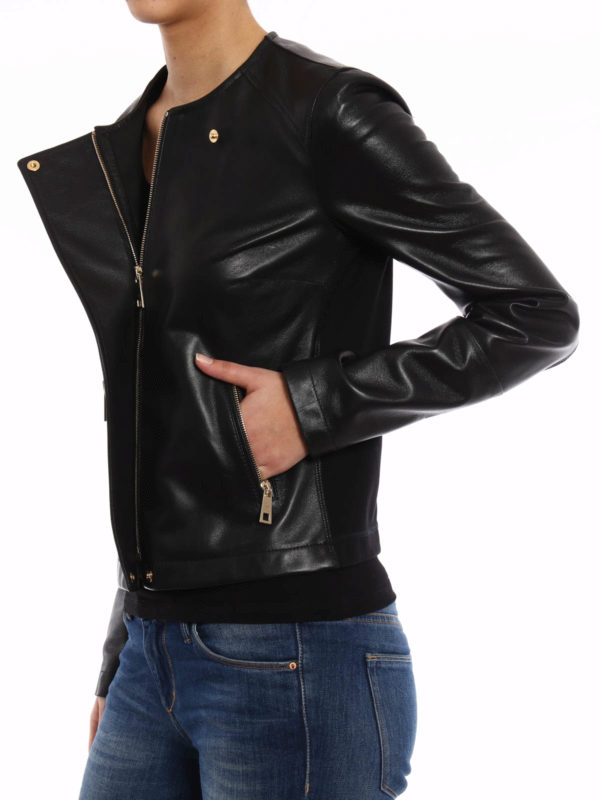leather jacket shop online Leather and jersey jacket