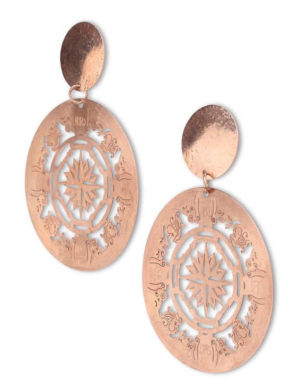 Lertora: Earrings online - Rose-toned silver earrings