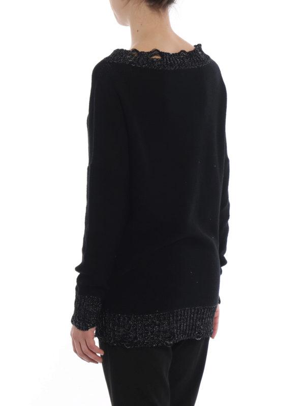 Lurex trim cotton boat neck sweater shop online: FABIANA FILIPPI