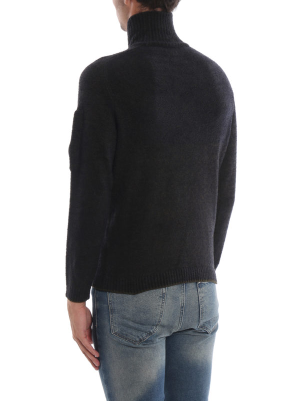 Melange green Lens wool blend knit sweater shop online: CP COMPANY