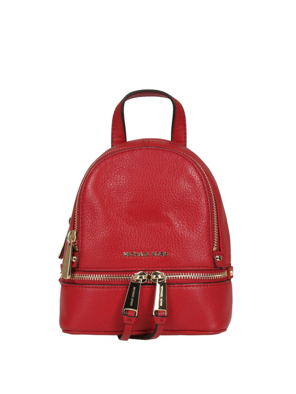MICHAEL KORS: backpacks - Rhea Mini red leather backpack