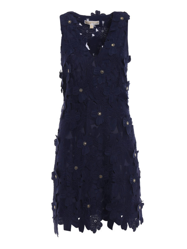 Michael Kors Floral Applique Blue Lace Dress Cocktail