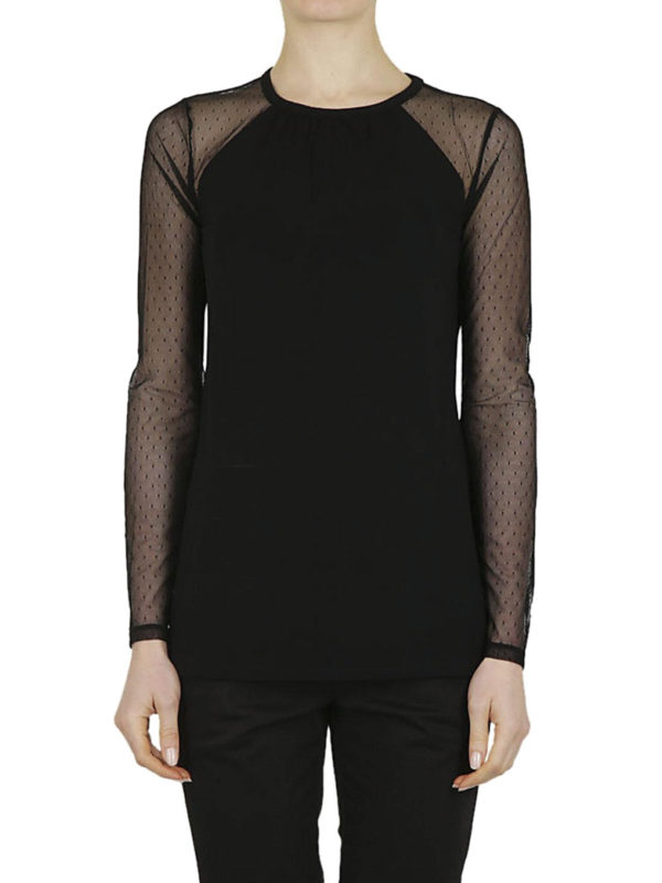 Polka dot tulle sleeved t shirt by michael kors t shirts for Michael kors mens shirts sale