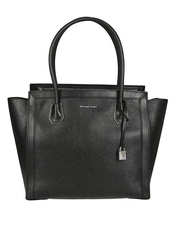 MICHAEL KORS: totes bags - Mercer Studio L black leather tote