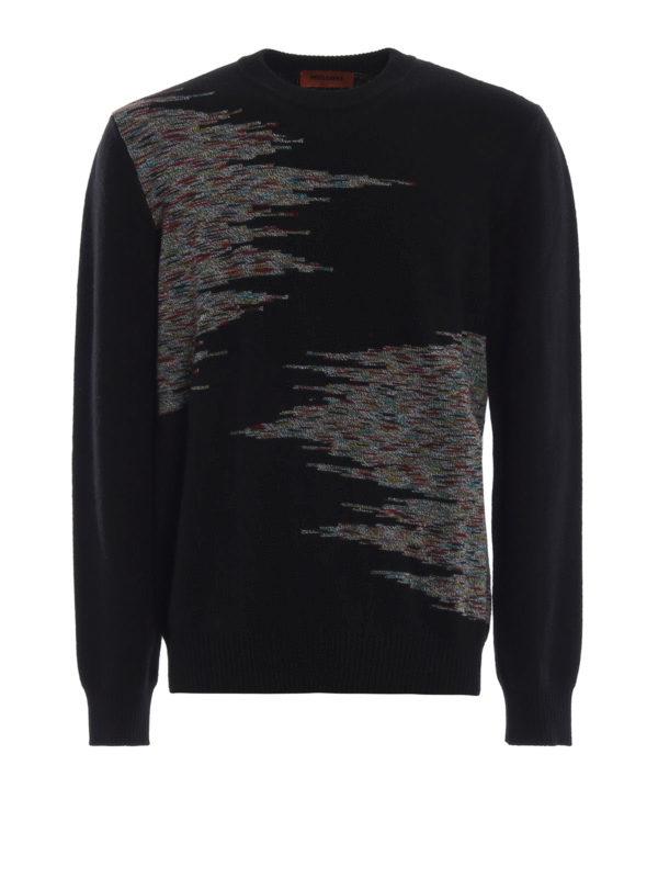 MISSONI: crew necks - Patterned intarsia black wool sweater