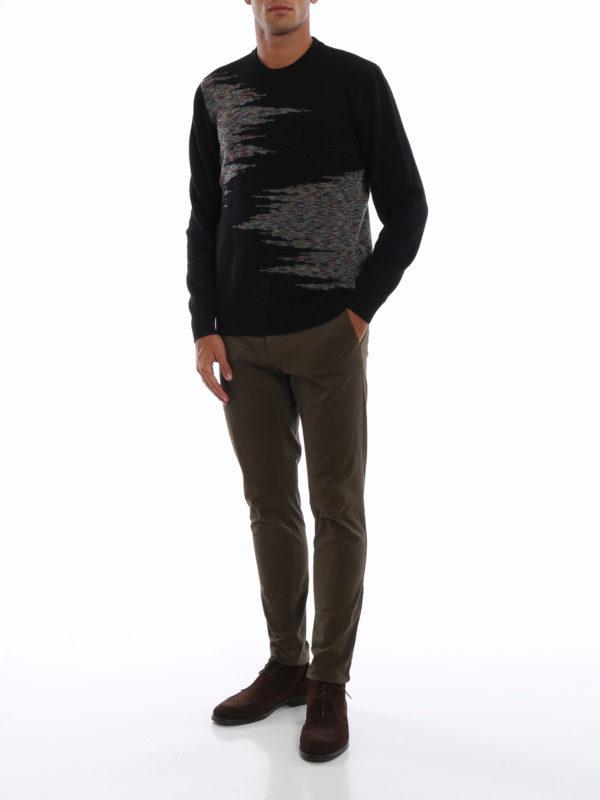 MISSONI: crew necks online - Patterned intarsia black wool sweater