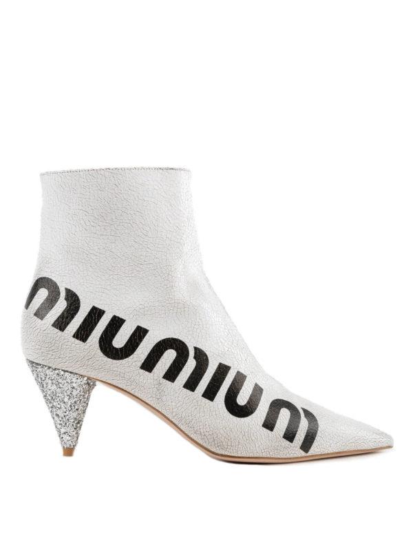 MIU MIU: Stiefeletten - Stiefeletten - Weiß