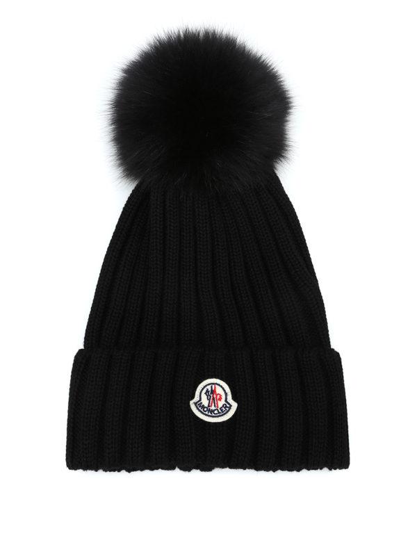 52d0e175a05 Moncler - Fur pompom black ribbed wool beanie - beanies - D2 093 ...