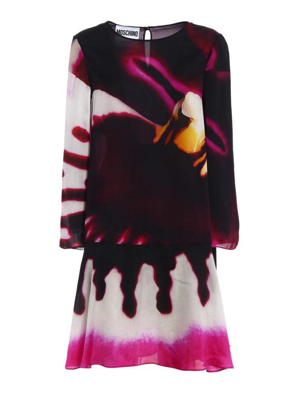 MOSCHINO: knee length dresses - Printed organdie flared dress