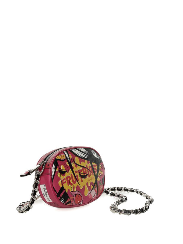 MOSCHINO: cross body bags online - Printed faux leather crossbody