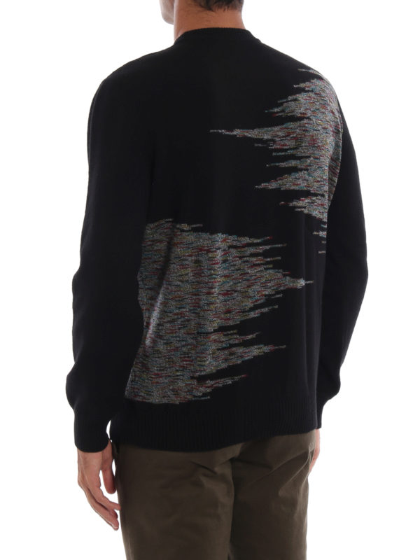 Patterned intarsia black wool sweater shop online: MISSONI