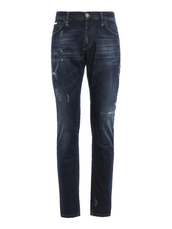 Philipp Plein: Straight Leg Jeans - Straight Leg Jeans - Dark Wash