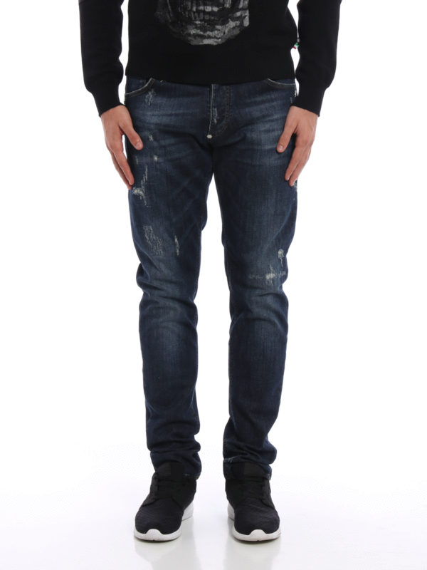 Philipp Plein: Straight Leg Jeans online - Straight Leg Jeans - Dark Wash