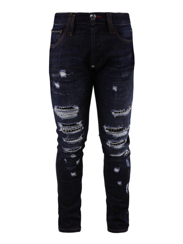 PHILIPP PLEIN: Straight Leg Jeans - So Much I - Dunkles Jeansblau