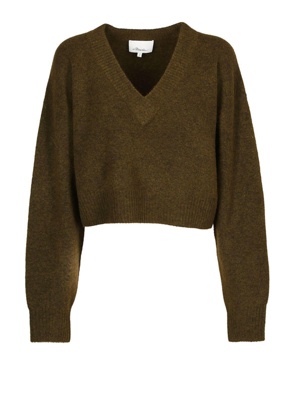 PHILLIP LIM: Strickpullover mit V-Ausschnitt - V-Pullover - Dunkelgrün