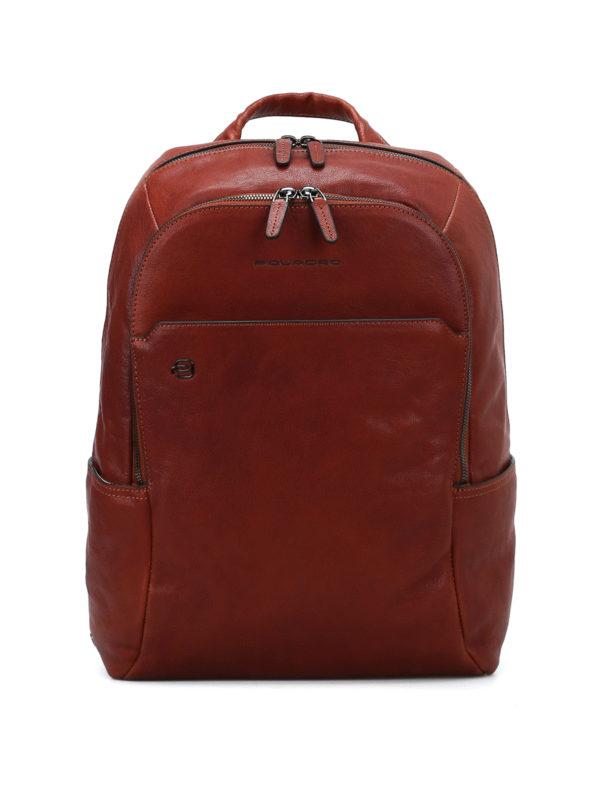 PIQUADRO: backpacks - Light brown leather backpack