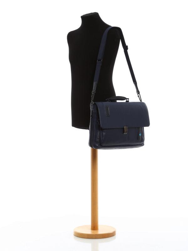 iKRIX PIQUADRO: Blue nappa laptop/ iPad briefcase
