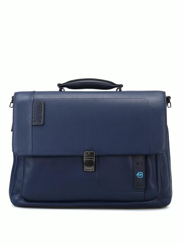 PIQUADRO: laptop bags & briefcases - Blue nappa laptop/ iPad briefcase