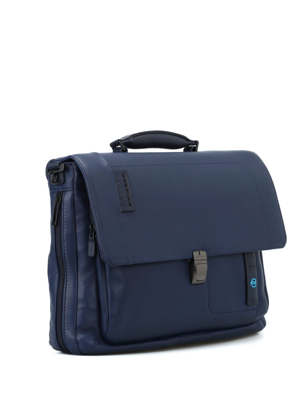 PIQUADRO: laptop bags & briefcases online - Blue nappa laptop/ iPad briefcase