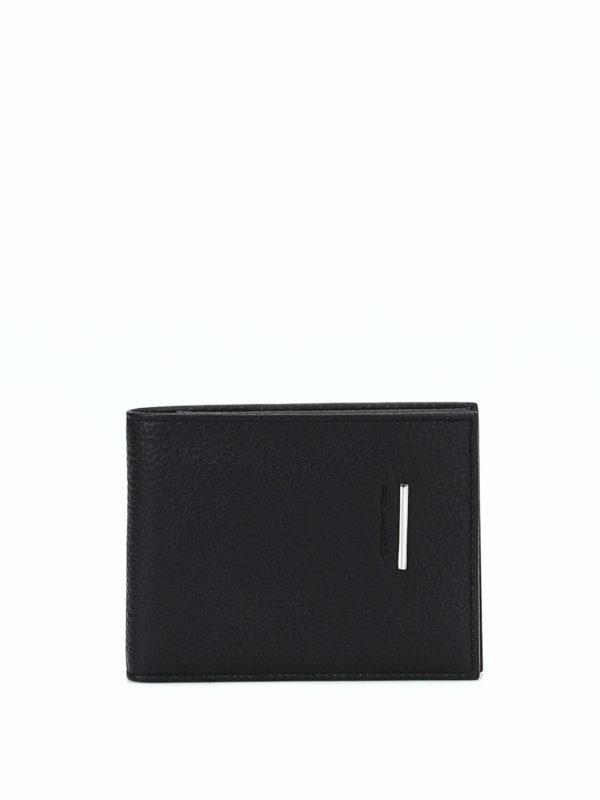 PIQUADRO: wallets & purses - Grainy leather black wallet