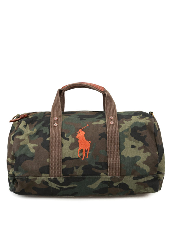 POLO RALPH LAUREN: Luggage & Travel bags - Orange logo camu duffle bag