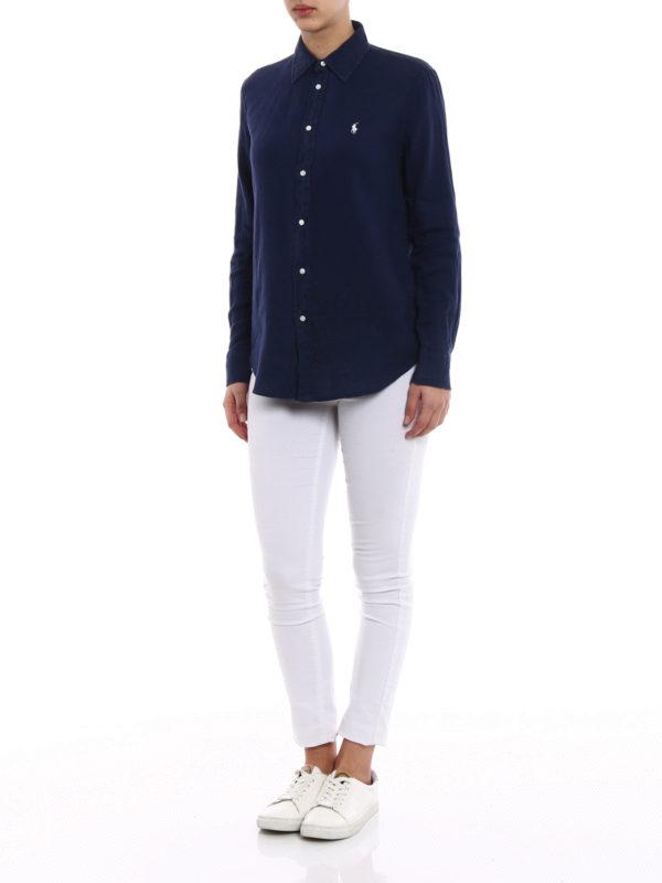 pretty nice 02527 448cd Polo Ralph Lauren - Navy linen shirt - shirts - 211697460003 ...