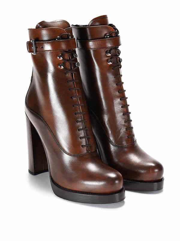 Prada: ankle boots - Lace-up leather ankle boots