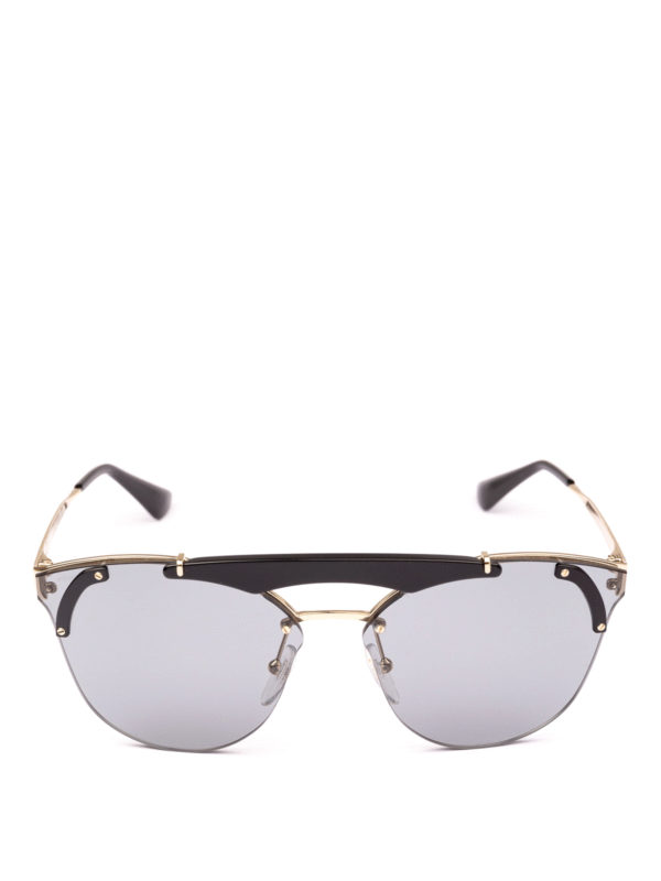 57f169ca0ef Prada - Pale gold and black cat eye sunglasses - sunglasses - SPR53U ...