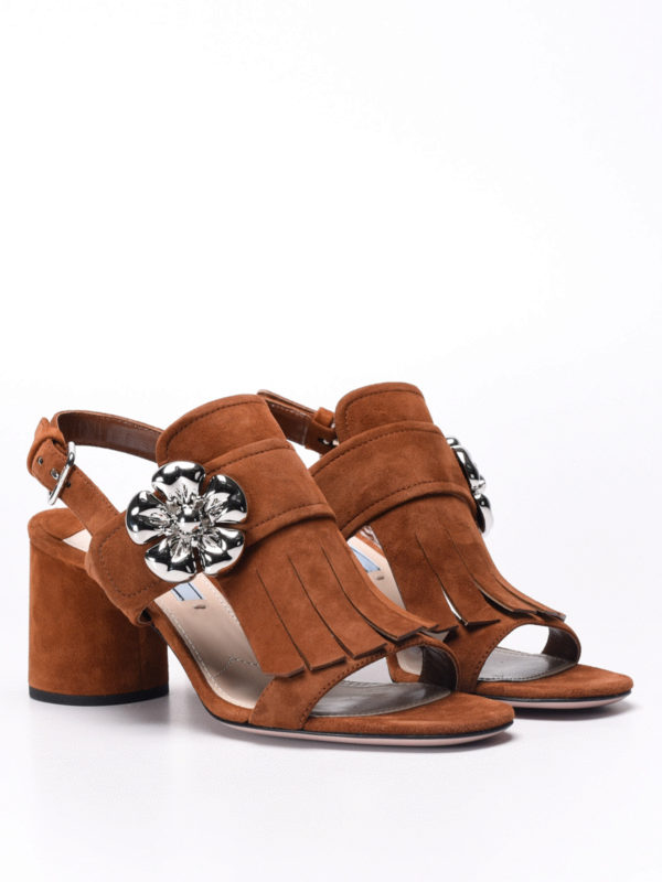 Prada: sandals online - Flower detail fringe suede sandals