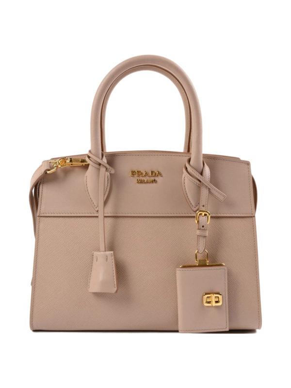 Prada: Handtaschen - Shopper - Dunkelbeige