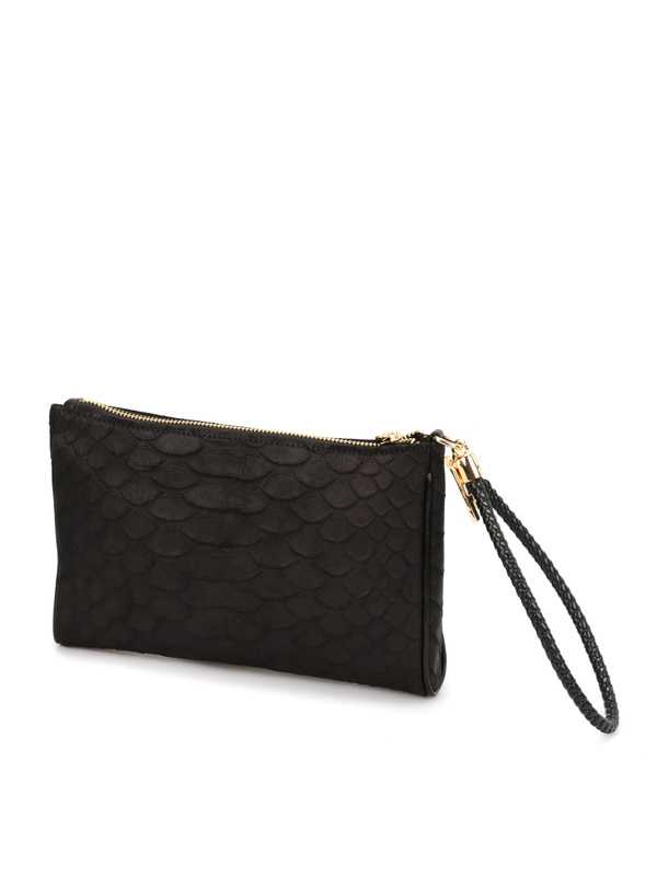Python print leather pouch shop online: ROBERTO CAVALLI