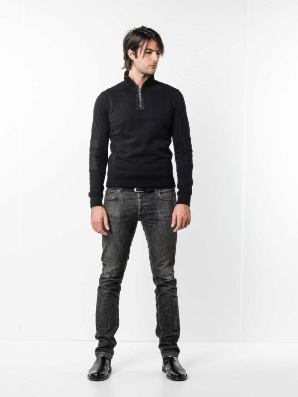 Ralph Lauren Black Label buy online Sweatshirt with leather details