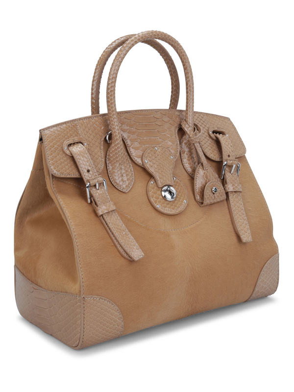 RALPH LAUREN: totes bags online - Soft Ricky 33 python leather bag