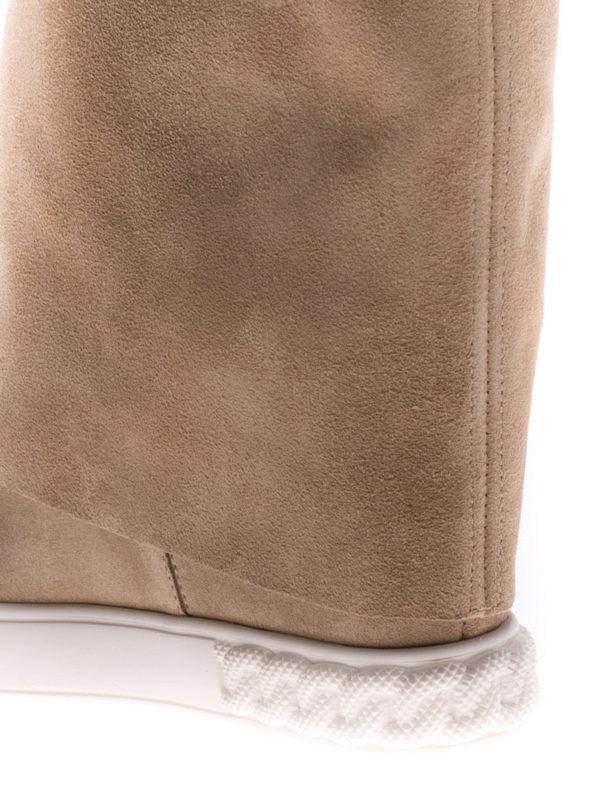 Reversible beige suede wedge boots shop online: Casadei