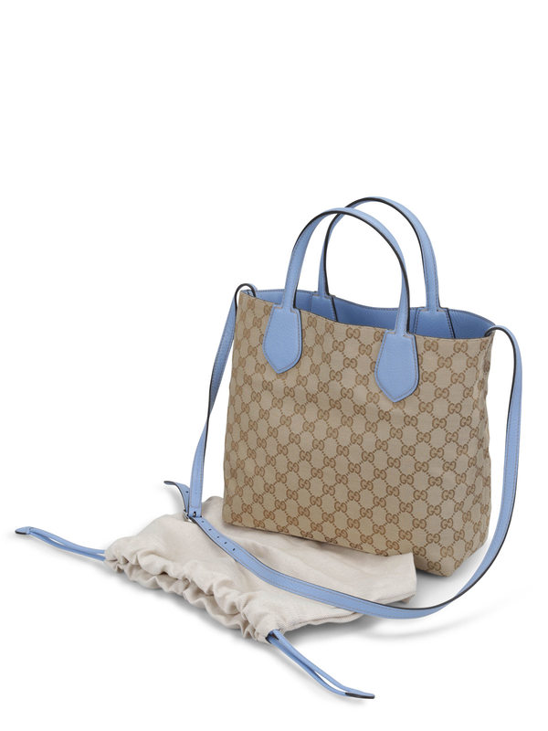Reversible GG fabric Ramble tote shop online: Gucci