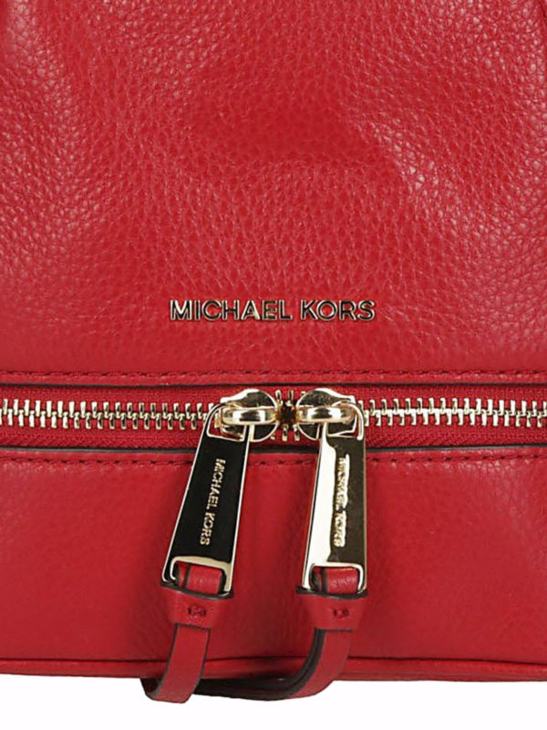 Rhea Mini red leather backpack shop online: MICHAEL KORS