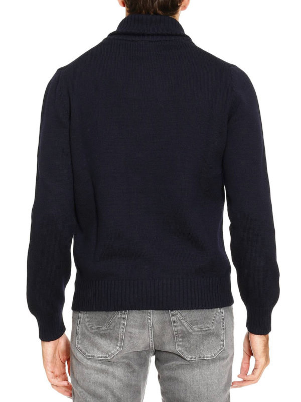 Ribbed collar wool sweater shop online: FAY