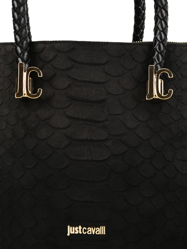Roberto Cavalli buy online Python print leather tote