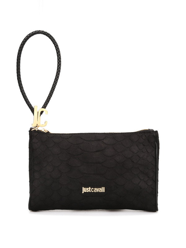 Roberto Cavalli: clutches - Python print leather pouch